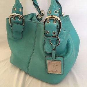 Tignanello Turquoise Leather Bucket Bag